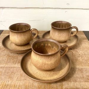 DENBY | Romany Brown Cups and Saucers | Stoneware